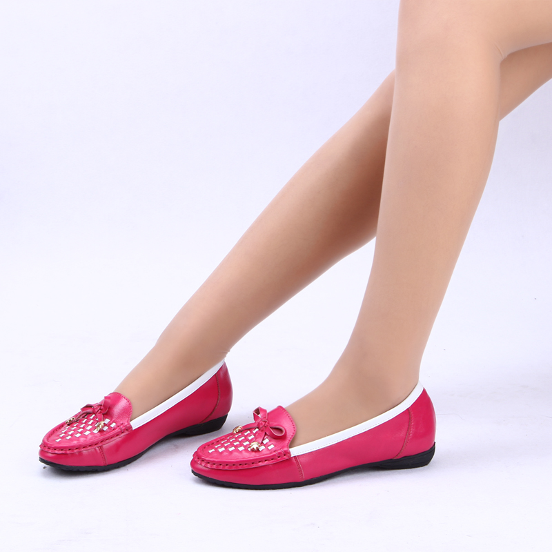 Candy color single shoes female flat heel genuine leather Moccasins mother flat shoes shallow mouth women's flats