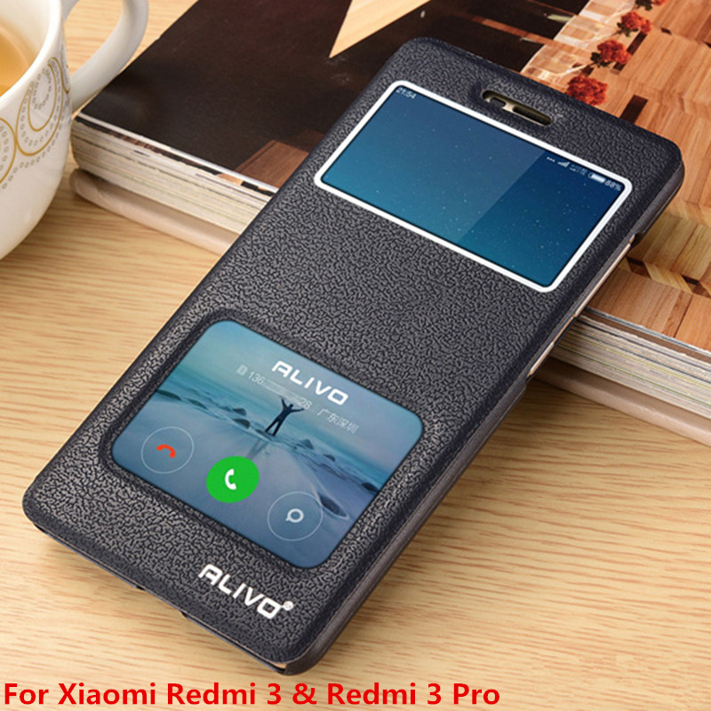 Xiaomi Redmi 3 Pro Leather Case Original ALIVO High PU Leather View Window Flip Cover Case Xiaomi Redmi3 3S