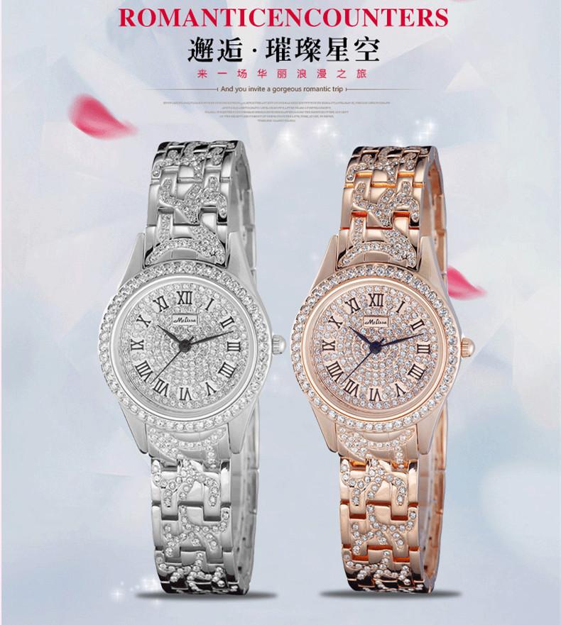 Мелисса леди женские часы кварцевых часов ювелирные изделия мода платье браслет роскошный кристалл горного хрусталя девушка подарок на день рождения оригинальной коробке