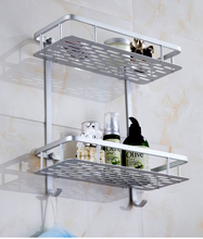 Multi-functional Single or Double Shelve With Hooks Space Aluminum Bathroom Accessories Bathroom or Kitchen