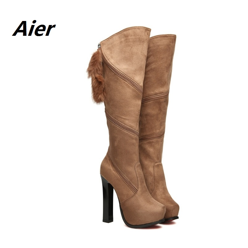 Women boots winter knee high genuine leather Fashion velvet material zipper high-heeled thin heel - Jelly's store