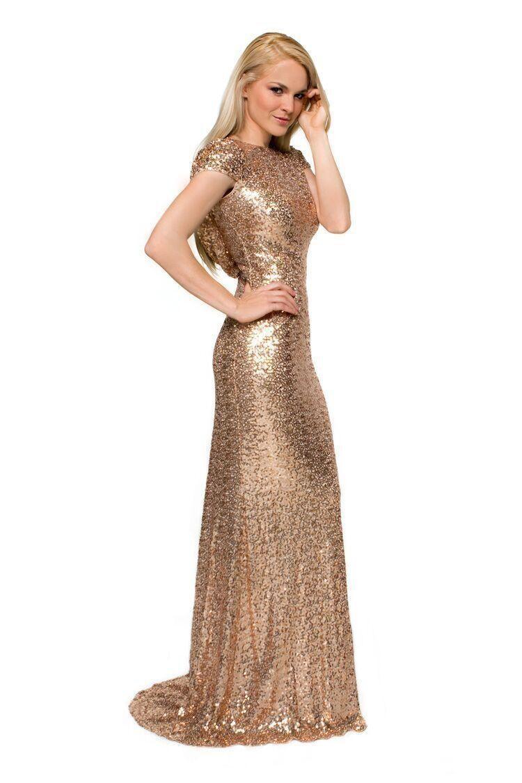Online Get Cheap Sequin Gold Short Sleeve Bridesmaid Dress ...