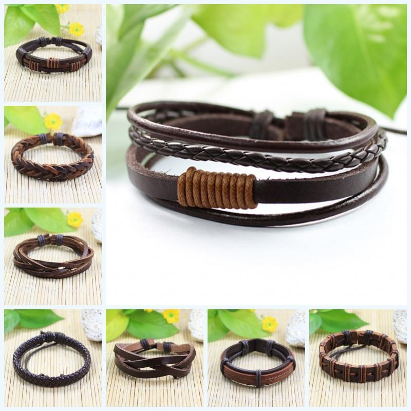 70PCS bracelets wholesale high quality tribal ethnic handmade charm braided genuine leather bracelet for men &amp; for women<br><br>Aliexpress