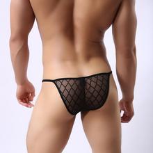 WH55 Men's Sexy Breathable Plaid Brief Shorts Transparent Mesh Underwear simple Bikini Briefs JJSOX(China (Mainland))