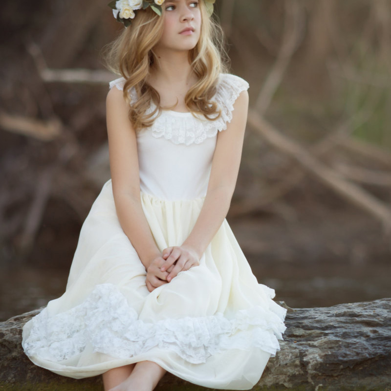 2016 country boho flower girl dress a line first communion for Country wedding flower girl dresses