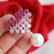 Merah Pohon Merek Kualitas Tinggi Musim Dingin Perhiasan Pakaian Aksesoris Fashion Kerah Pin Wanita Kerah Pin Drop Pengiriman(China)