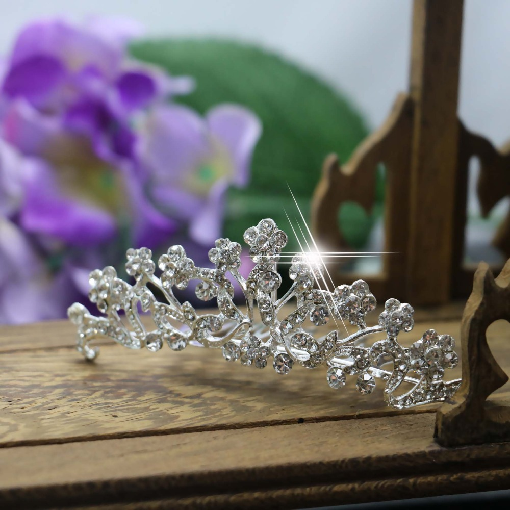 2015 New Wedding Bridal Crystal Flower Hairpin Hair Fashion Diamante Comb Hair Clips For Women Jewelry Accessories Wholesale(China (Mainland))