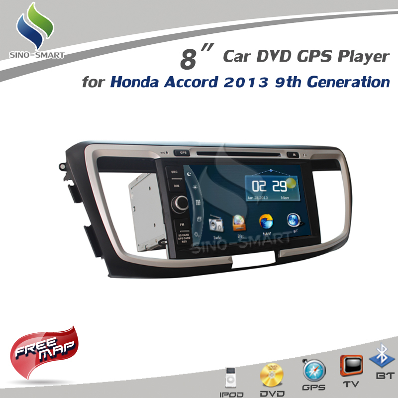 New in stock 8 inch Car DVD GPS Player with iPod TV BT Radio for Honda Accord 2013 CE/FCC/ROHS certified WIN CE 6.0 RAM 128M(Hong Kong)
