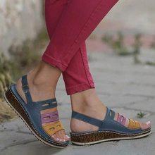 PUIMENTIUA nuevas sandalias de verano para mujer Sandalias de punto de 3 colores para damas zapatos casuales de Punta abierta plataforma zapatos de playa de cuña(China)