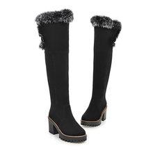 MEMUNIA Große größe 34-43 über die knie stiefel mode schuhe frauen warm halten schnee stiefel high heels schuhe winter stiefel flock(China)