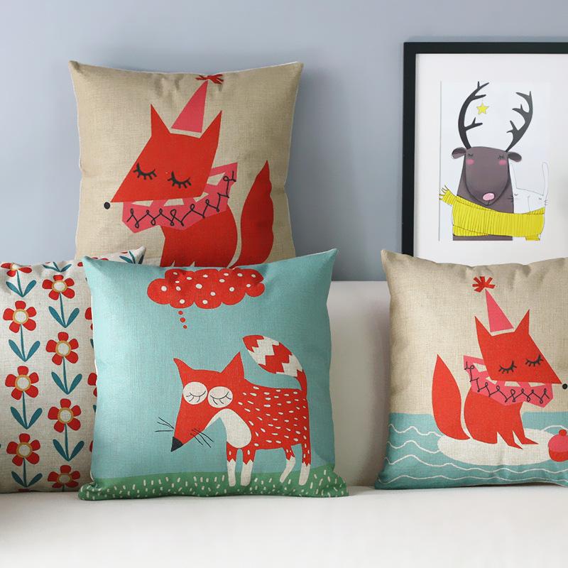 Simple Modern Cartoon pillow Little Foxes Pillow cushion pillowcase sofa cushion home decorative Pillows