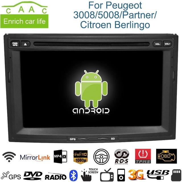 android gps navigation 7 car dvd player for peugeot 3008 5008 partner citroen berlingo with bt. Black Bedroom Furniture Sets. Home Design Ideas