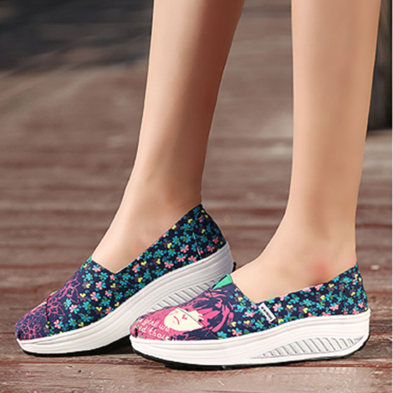 2016 Women's Sport Canvas Shoes Platform Wedge Sneakers Patchwork Slip Massage weightlifting shoes - Aliexpress Main store