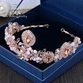 European Baroque Big Pink Crystal Tiara wedding bride jewelry accessories stage catwalk