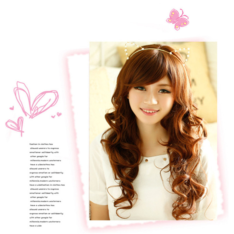 Hot Selling 65cm fashion High-temperature Long Synthetic wig cheap wigs Black brown curly hair fluffy bangs wigs womens wig cap<br><br>Aliexpress