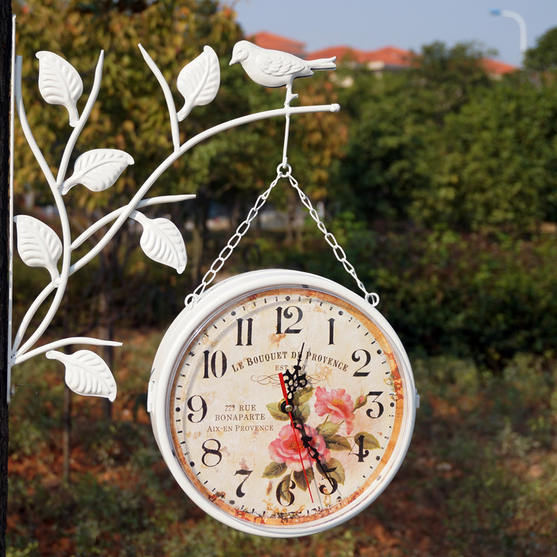 Unique gift wall clock retro metal iron home decorative rotated antique the double two faced wall clock vintage on the wall(China (Mainland))