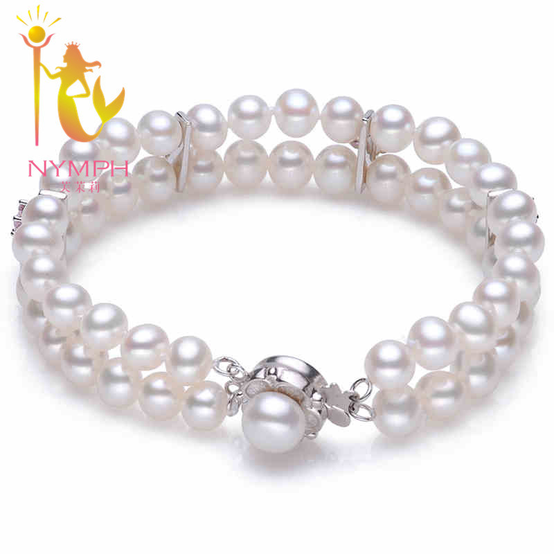 NYMPH brand natural freshwater pearl two row Bracelet, 2014 fashion new design and high quality gift for girl Free Shipping<br><br>Aliexpress