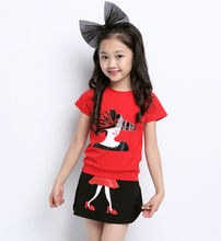 Summer girl fashion clothing short sleeve T-shirt+skirt set 2 pieces 100% cotton princess pattern clothes suit for 8~16Y girls(China (Mainland))