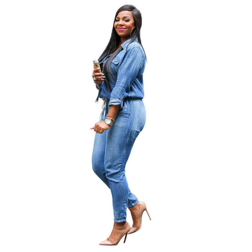 2016 новые мода джинсовый комбинезон женщин осень длинный рукав ковбой случайные глубокий v-образным вырезом Бинт эластичный талии Комбинезоны и комбинезон