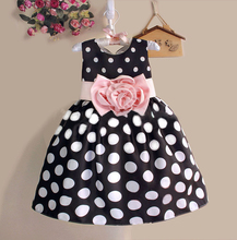 Hot!dots flower dress princess girls dresses summer 2015 for 2-8 baby girls dress clothes children baby boutique clothing(China (Mainland))