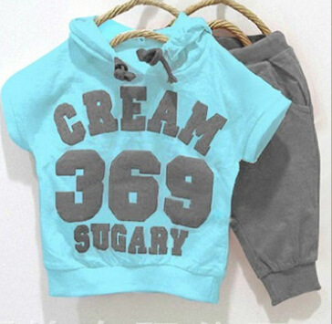 2015 new In Stock promotion cream color 369 short sleeve hoodies+pants children summer clothing set baby suit(China (Mainland))