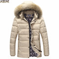 2016 Fall Winter Khaki Faux Fur Hooded Middle Long Parkas for Men Warm Male Cotton Coat