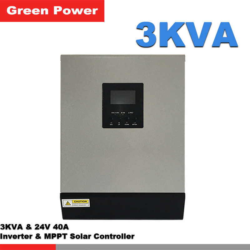 3KVA 24V40A Pure wave sine inverter with MPPT solar charge controller,LCD display remote control 2400w solar panel charge(China (Mainland))