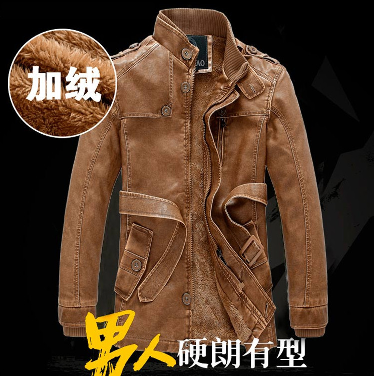 2015 New Vintage Motorcycle Jacket Men PU leather Jackets Plus Thick Velvet Mens Fashion Winter Outdoor Sport Warm Coats - FORHISIS MEN FASHION STORE store