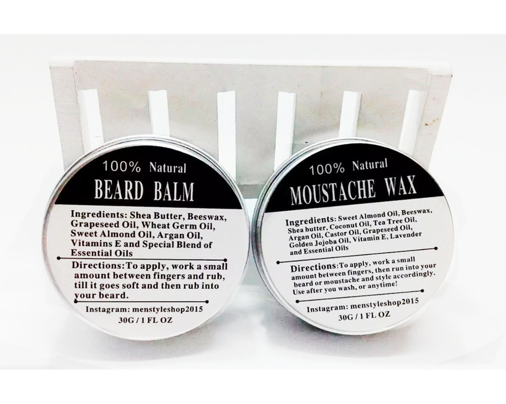 Top Quality 30G Small Size Natural Beard Oil Conditioner Beard Balm for Beard Growth and Organic Moustache Wax for Beard Styling