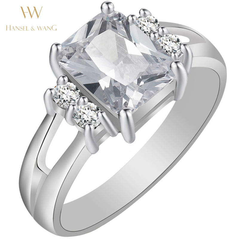 Big square zircon silver plated simulated diamond womens for Wedding engagement rings for women
