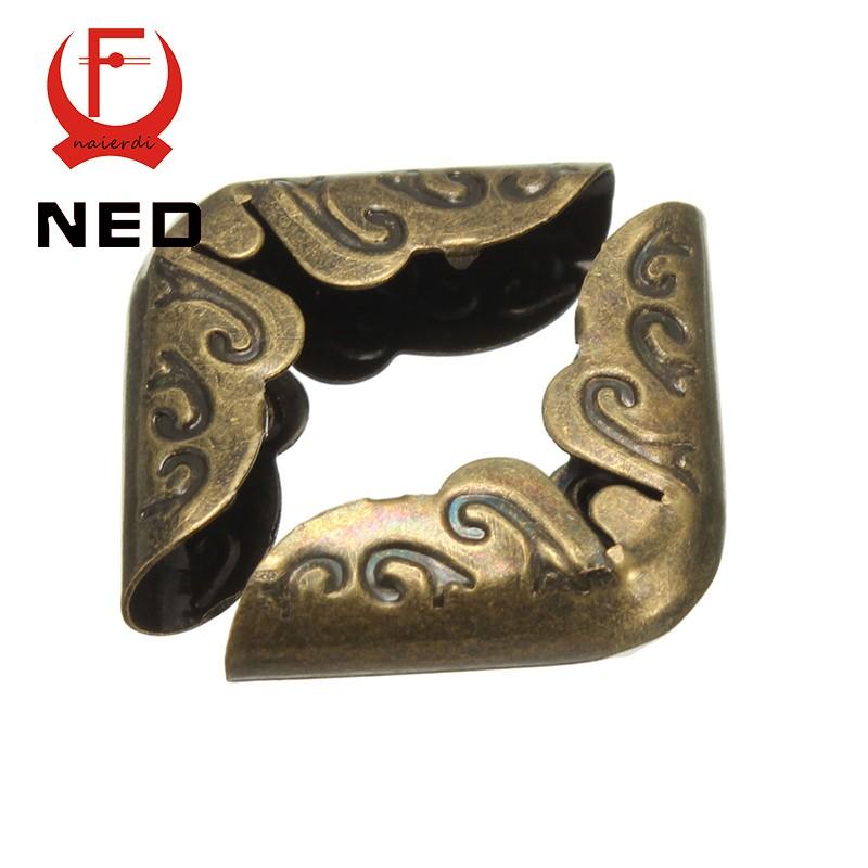 NED 24pcs 15x15x3mm Antique Brass Metal Book Scrapbooking Notebook Albums Menus Folders Corner Protectors Bronze Tone