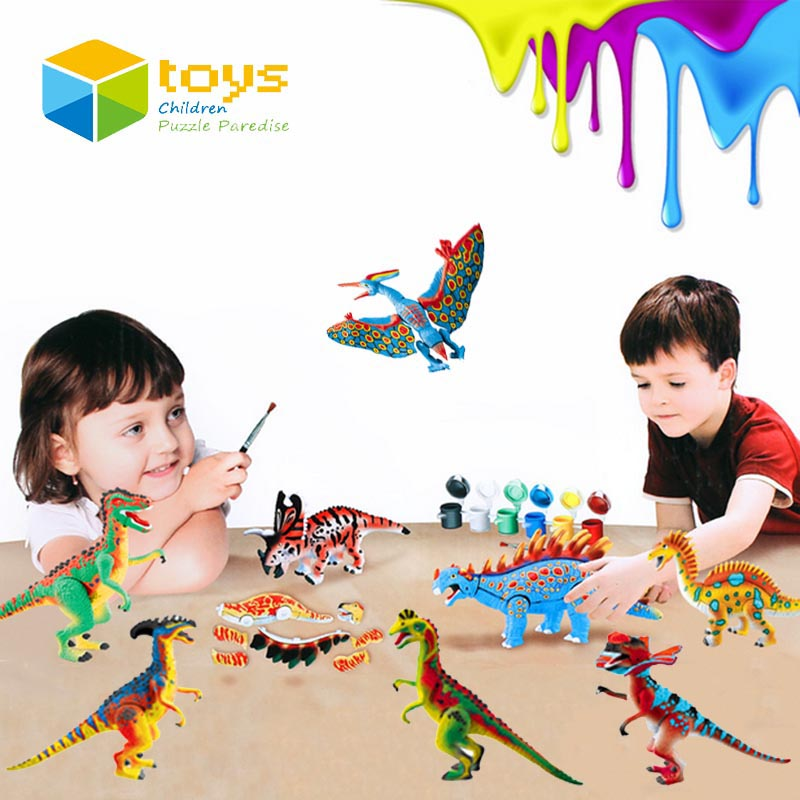 DIY Coloring Painting Animal Model Drawing Toys Graffiti Jurassic Dinosaur Creative Learning Educational Toys for Children Gifts(China (Mainland))