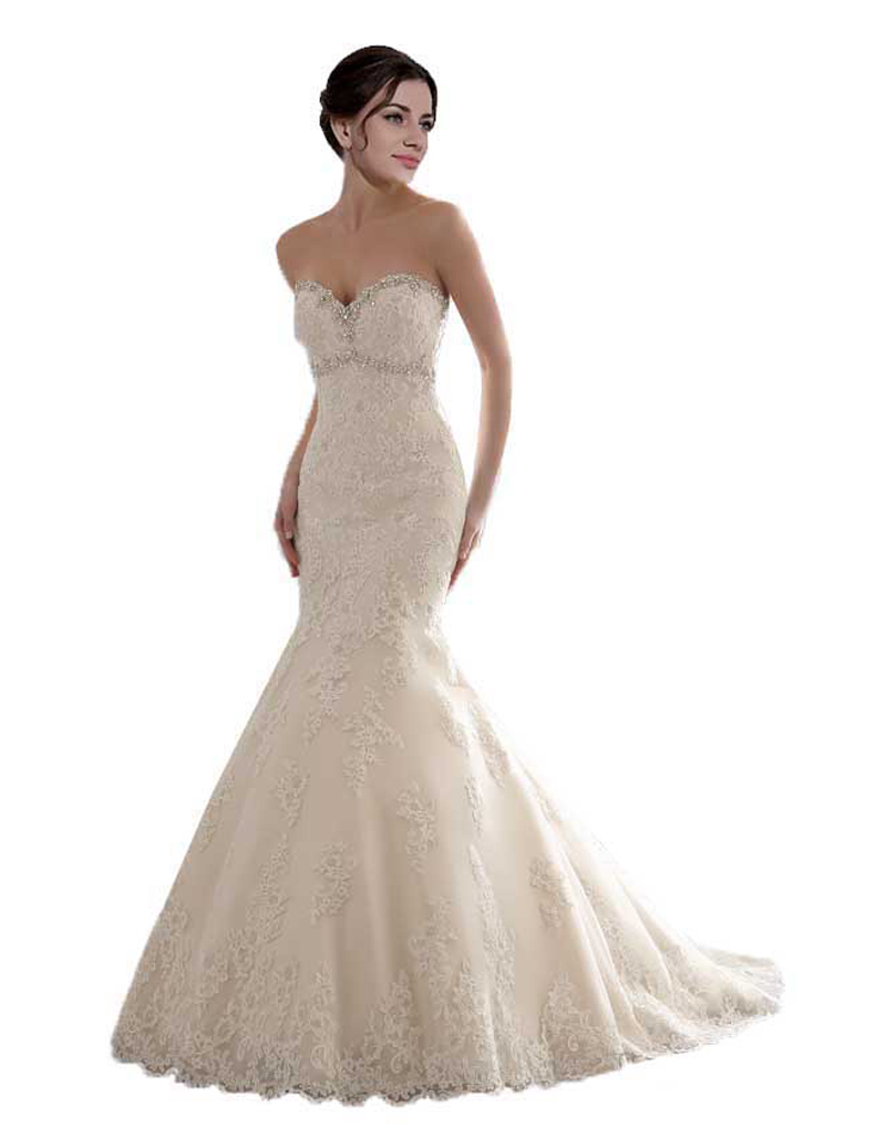 Simple Cheap Bridal Gown Wedding Day 2015 Lace Wedding Dresses Sweetheart With Beads(China (Mainland))