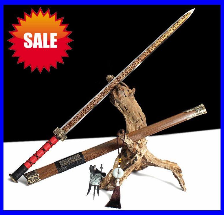 Nice gift choice Pear wood Saya Chinese sword Full tang Han Jian sharp knives(China (Mainland))
