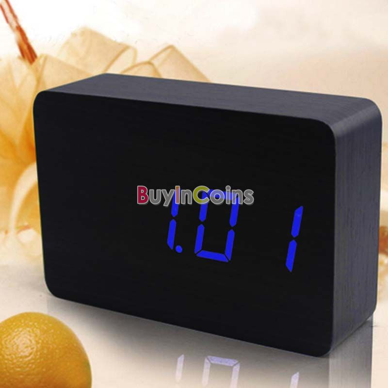 Blue LED Office Desk Digital Alarm Clock Black 818 US AS #31879(China (Mainland))