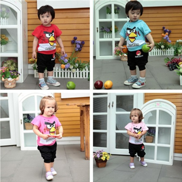1PCS Free Shipping 2013 New Baby Summer Garment Short Sleeve Sport Active Wear Cartoon Design Clothes Set T-shirt + Pants