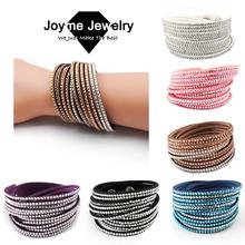 2015 New Multilayer crystal Wrap bracelet Rhinestone Bling slake deluxe bracelet Double wrap leather bangle Pulseiras Femininas(China (Mainland))