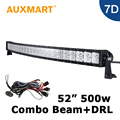 Auxmart 52 inch Curved LED Light Bar 7D 500W Cree Chips LED Bar Combo Beam Cross