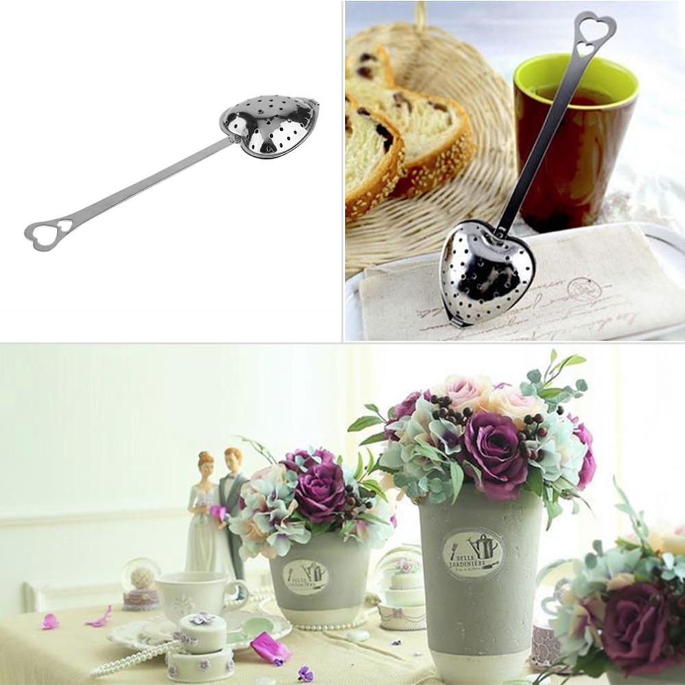 Hot Heart Shape Stainless Steel Tea Leaf Herbal Filter Infuser Spoon Strainer