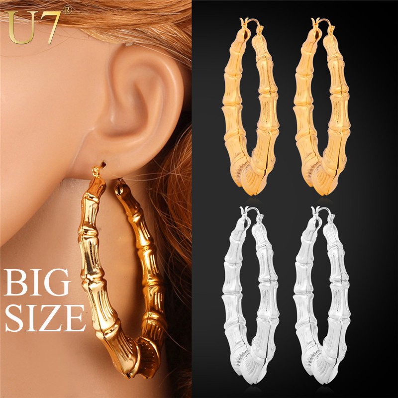 Big Size Earrings 2015 New Platinum/18K Real Gold Plated Fashion Jewelry Vintage Round Large Circle Hoop Earrings For Women E451(China (Mainland))