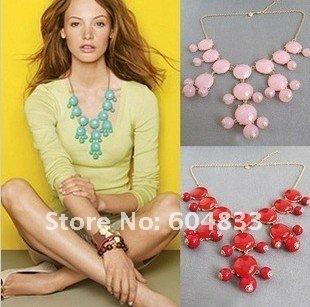 New Women resin gem Bubble Bib Statement Fashion Necklace  12Pcs lot mix color hot sale
