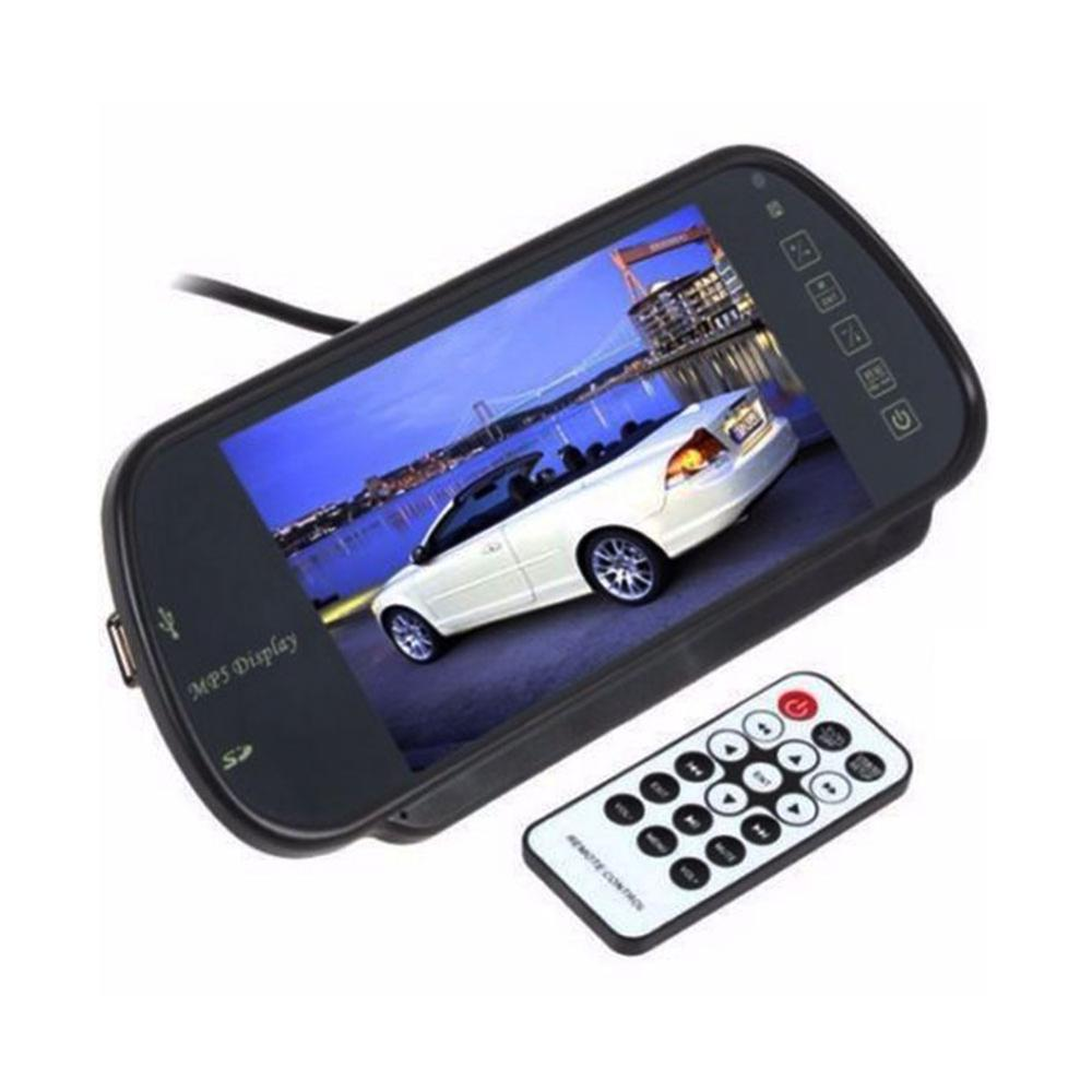 7 Inch 16:9 TFT LCD Widescreen Car Rearview Mirror Monitor with Menu Button Car Monitor Mirror for Auto Supports 2 Video input