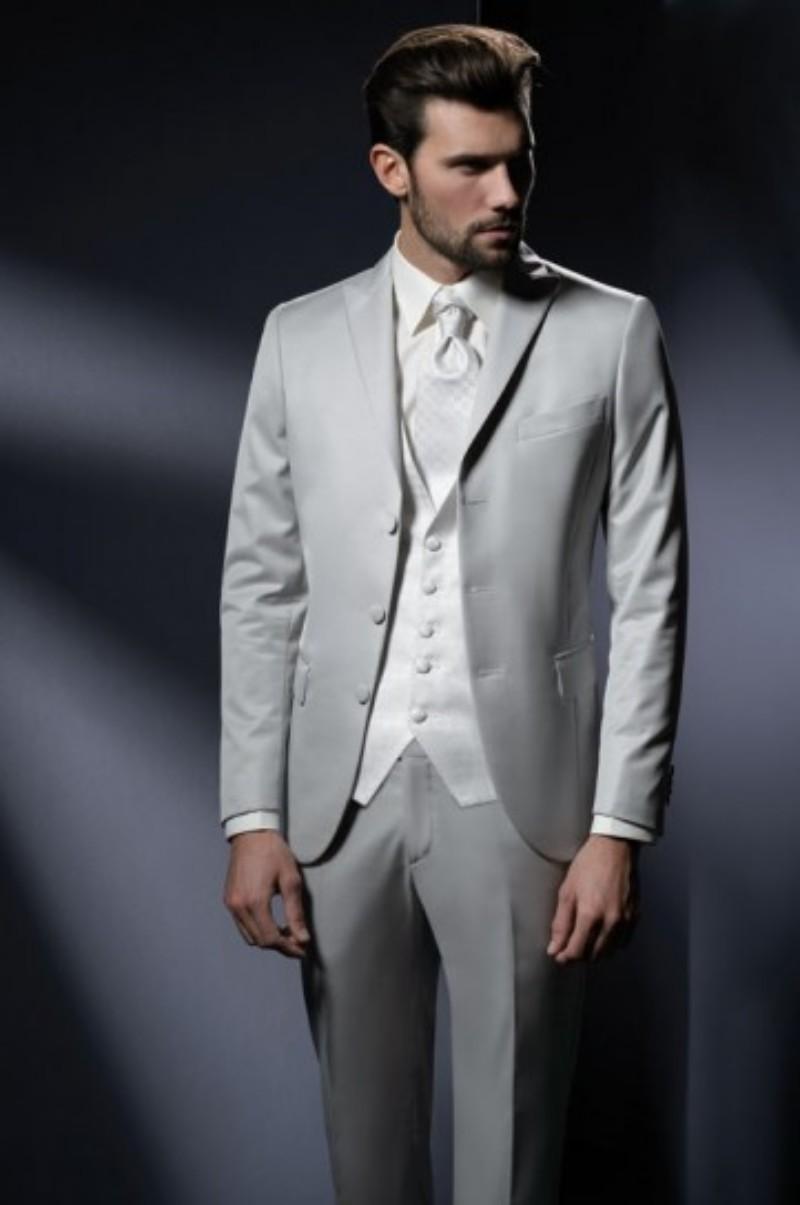 Custom Made Groom Tuxedos Silver Grey Groomsmen Peak Lapel Wedding/Dinner Suits Best Man Bridegroom (Jacket+Pants+Tie+Vest) B594