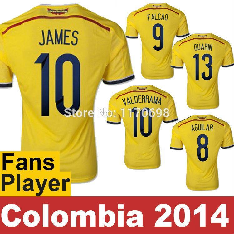 Free Shipping Colombia jersey 2014 World Cup Top quality Home colombia soccer shirts 10#JAMES VALDERRAMA FALCAO colombia jersey(China (Mainland))