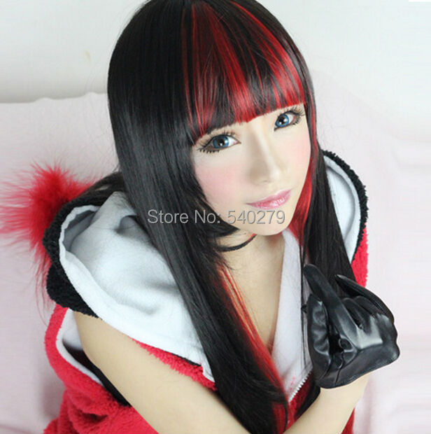 70cm Fashion Brand New Full Long Straight Ombre Hair Black Red Gradient Color Cosplay Party Anime Women's Wig Harajuku Hairstyle - HD online Store store