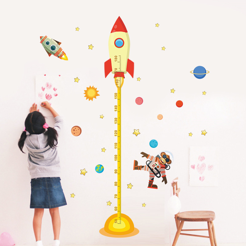 solar system rocket height measure chart wall stickers for
