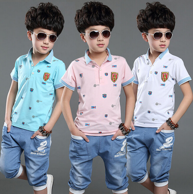 formal children's suits clothing set boys t shirt+pants large size boys clothes summer 4-13 years old boy's set Bos.WT-1(China (Mainland))