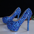 Blue Crystal Pumps Wedding Luxury Rhinestone High Heel Shoes Bridal Luxury Crystal Formal Platform Party Dress
