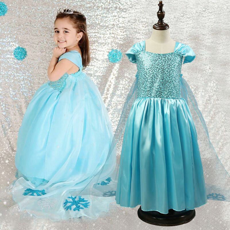 Elsa Anna Girl Dress Princess costume Girls Snow Queen Party dresses Children Full Cosplay Baby Toddler Kids Clothes meninas