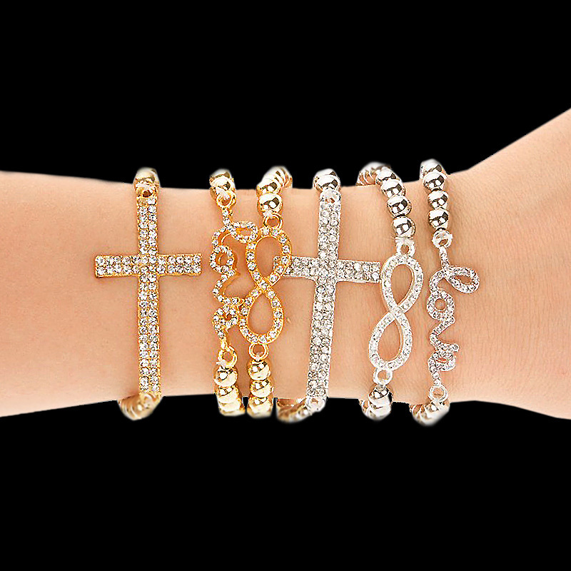 Hot Fashion Women's charm Bracelet Crystal Rhinestone Cross Love Infinity Stretch Golden Beaded bracelets & bangles Women - Ailsa Jewelry store